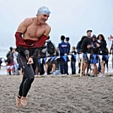 He stripped out of his wetsuit while participating in the September 2008 Nautica Malibu Triathlon.