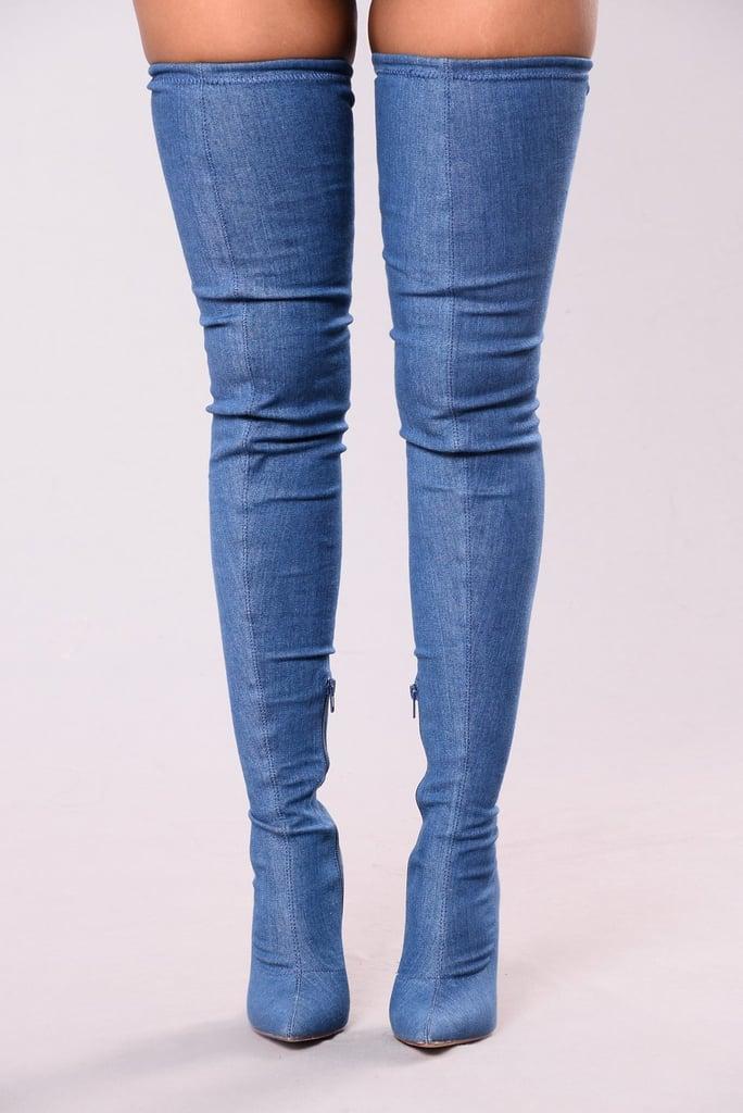 6fbe40d6058a Fashion Nova Vicky Over the Knee Boot | Jennifer Lopez Denim Boots ...