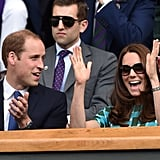 Kate and Will cheered in unison while watching the Wimbledon Championships in July 2014.
