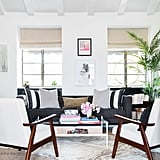 """Shay says her must haves for the guesthouse were """"a comfortable seating area to entertain friends that could also double as a place to film YouTube Q&A's (that was really important). I also wanted a small space for an office with my ultimate must have: a vision board."""""""