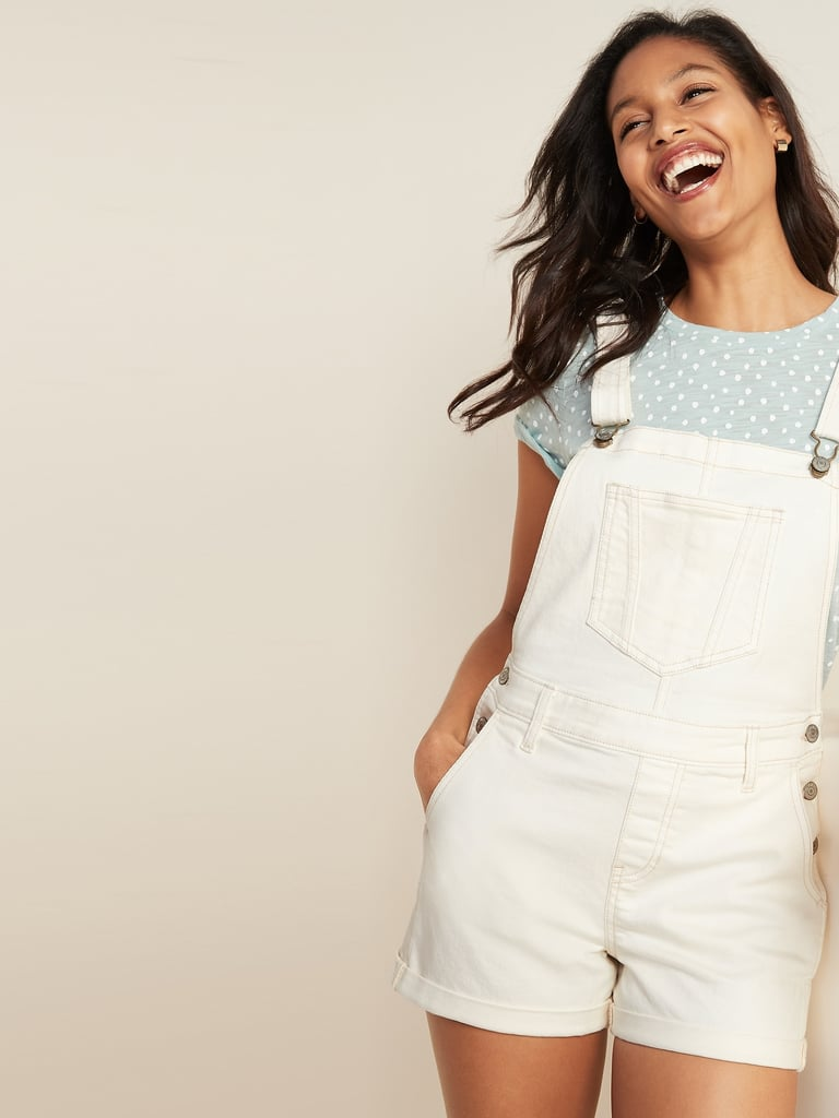Old Navy Off-White Jean Shortalls