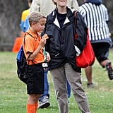Laid-back mom Reese Witherspoon scored some one-on-one time with her son Deacon at his soccer game.