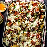 Loaded Pizza Nachos with Garlic White Sauce