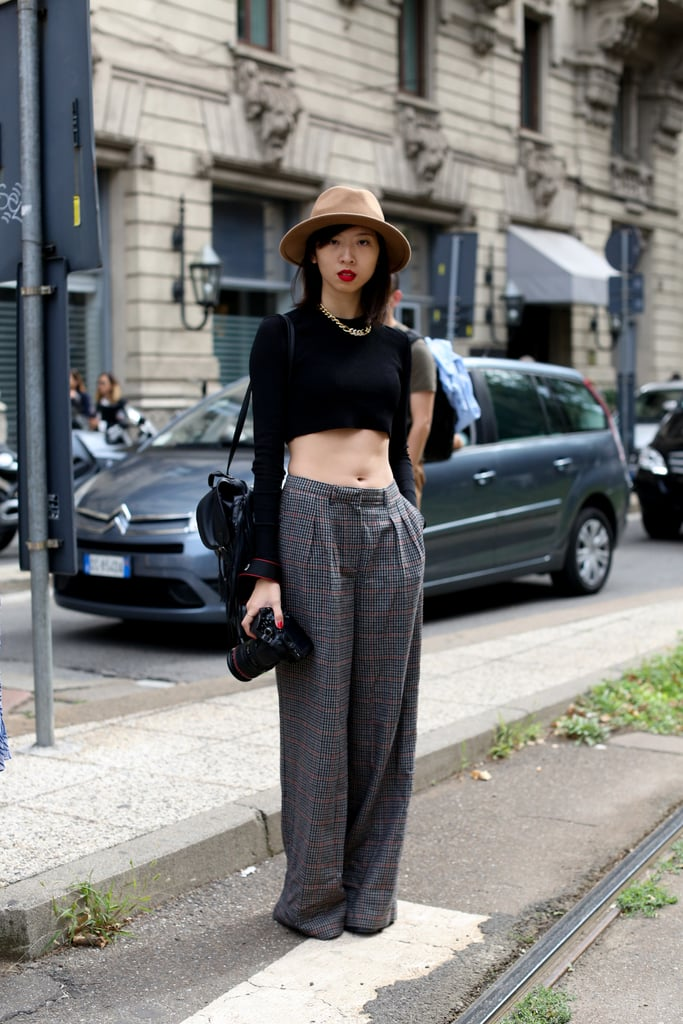 Borrowed-from-the-boys pants with a crop top that's all woman.