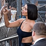 Kim Kardashian's Velvet Pants and Crop Top on Jimmy Kimmel