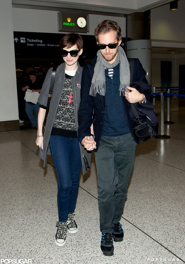 Anne Hathaway and Adam Shulman held hands at LAX.