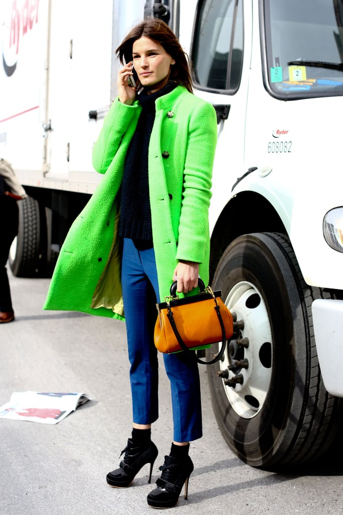 Hanneli Mustaparta worked a bold bit of outerwear into an otherwise understated street-style mix.