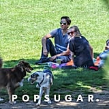 Amanda Seyfried and Justin Long watched the dogs play at the park.