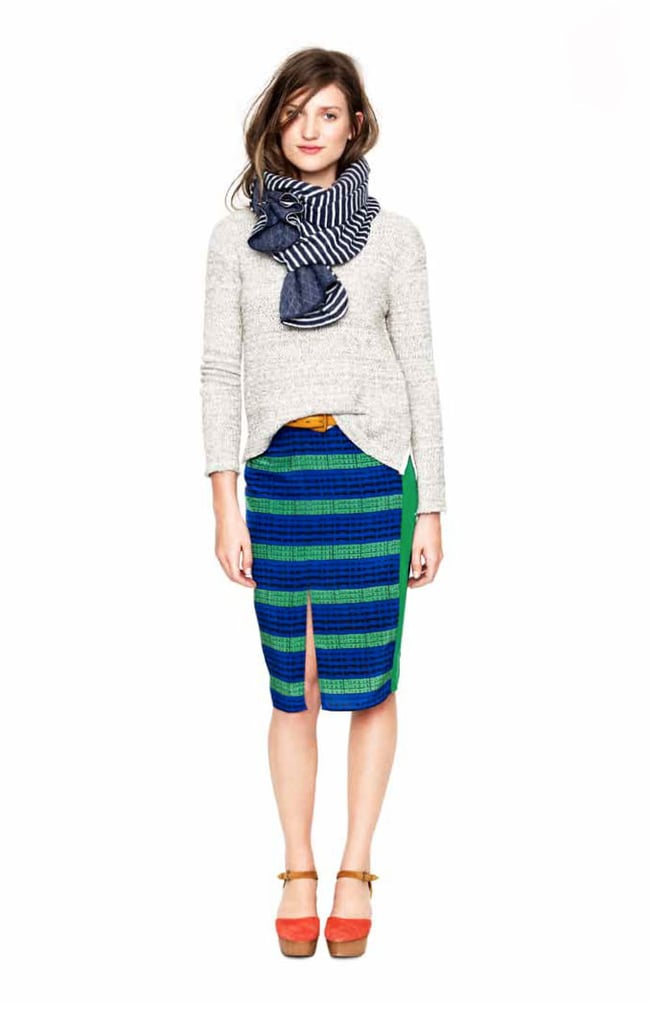 See how the stripes on this pencil skirt punch up a basic knit? We're planning to wear it just this way.