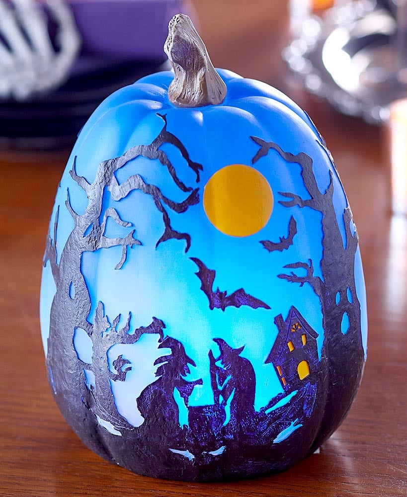 Lakeside Collection Colour-Changing Halloween Pumpkin With Witches