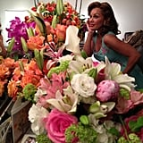 Vanessa Williams posed with her many flower bouquets before hitting the stage at the Sondheim Theater. Source: Vanessa Williams on WhoSay