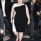 Back in April, the star stunned in this black-and-white number, which she paired with pink shoes to really make the look pop.