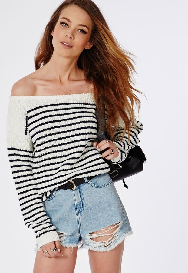 Missguided Off-Shoulder Striped Knitted Sweater