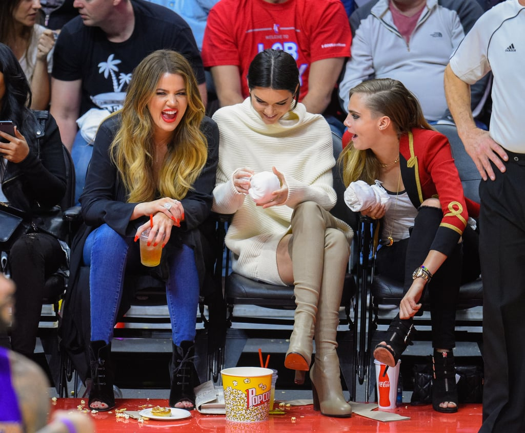 Cara Delevingne and the Kardashians Have a Glamorous Courtside Uniform