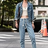 Seek denim styles with interesting waistbands — especially those that give way to the use of new and whimsical accessories.