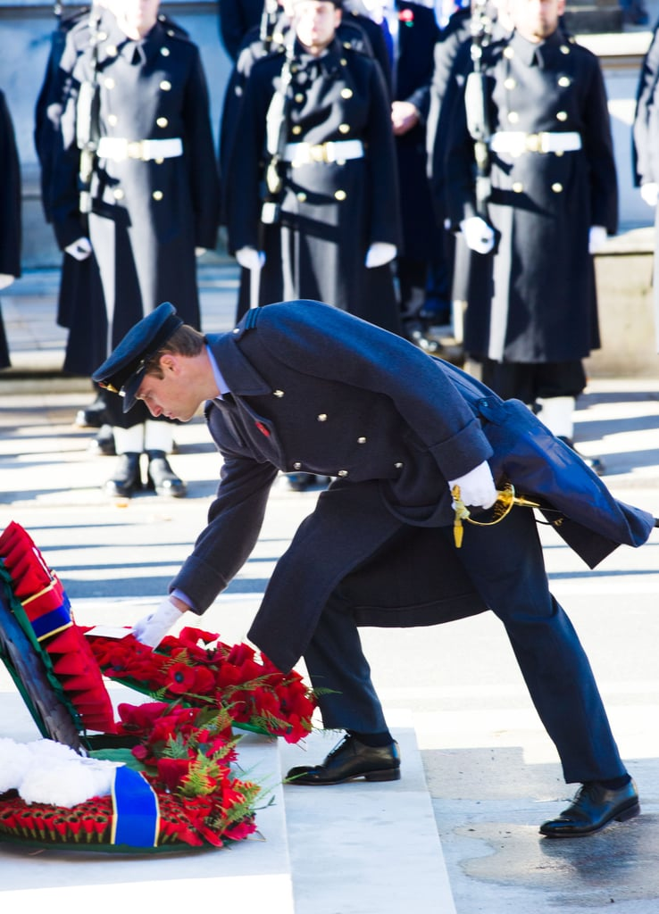 Prince William laid a wreath during the Remembrance Sunday Service at the Cenotaph on Whitehall in London.