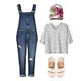 We're head over heels for overalls this season, and a backyard bash is the perfect time to get in on the trend. Wear yours over a slouchy striped tee, then add a sleek pair of flat sandals. A fun, printed baseball cap looks cool, sporty, and totally laid-back, so get ready to field lots of invites when the dudes start playing flip cup.  Shop this look:  Current/Elliott Traveler Denim Ranch-Hand Overalls ($368) Forever 21 Tropical Print Baseball Cap ($11) Alexander Yamaguchi Boxy Pinstripe Tee ($78) Loeffler Randall Dree Woven Sandals ($175)