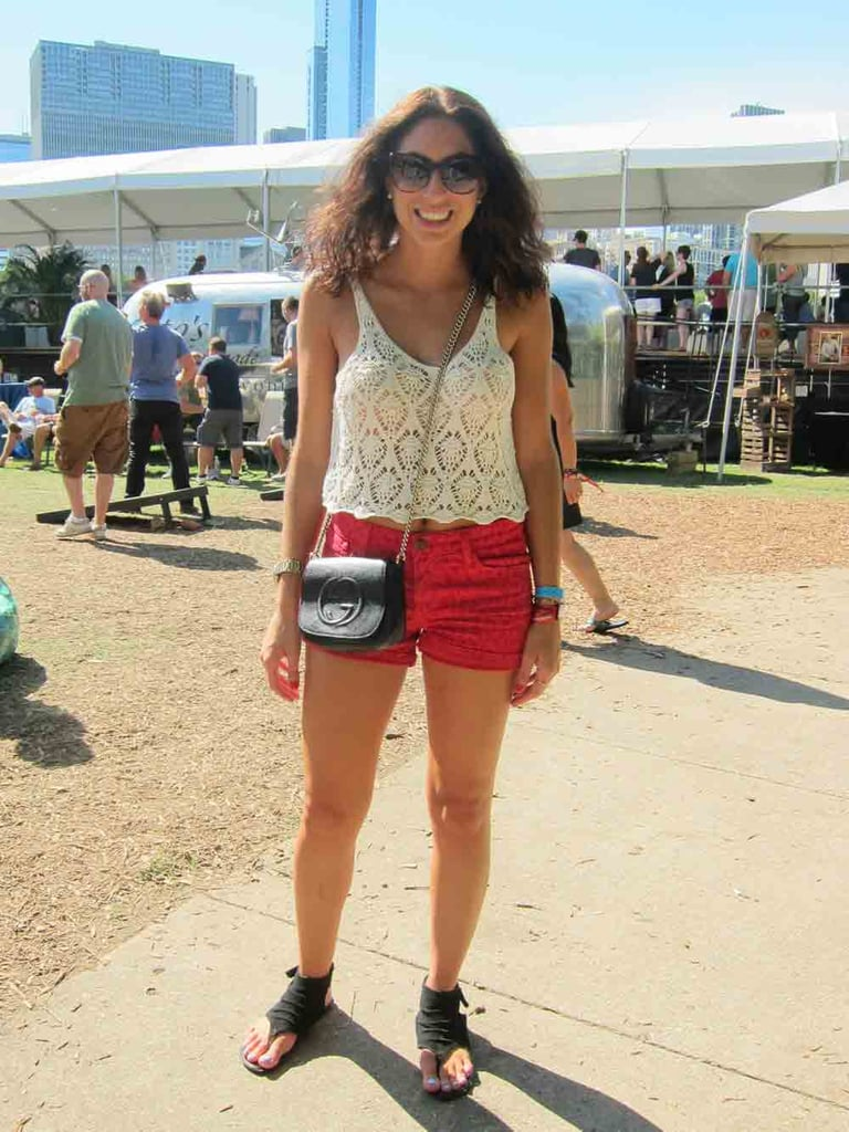 Sarah's new Gucci Soho bag caught our eye immediately, but we loved her whole look, from a breezy crochet tank to red denim shorts.