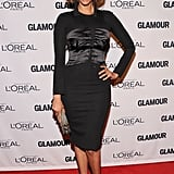 Tyra Banks stepped out in a corset-adorned LBD and tasseled earrings.