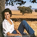 """Baby, Baby"" singer Amy Grant's ad was set in a field, where she gave a dramatic gaze."