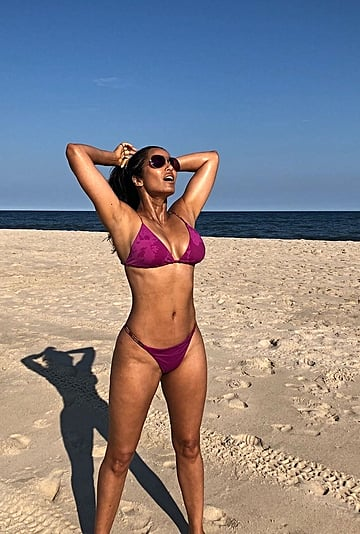 Padma Lakshmi Purple Bikini on Instagram