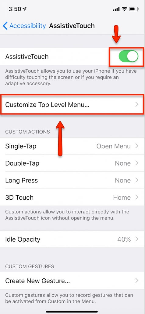 Customise AssistiveTouch Menu