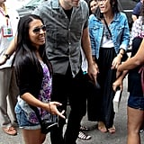 Robert Pattinson posed for fan photos at Comic-Con.