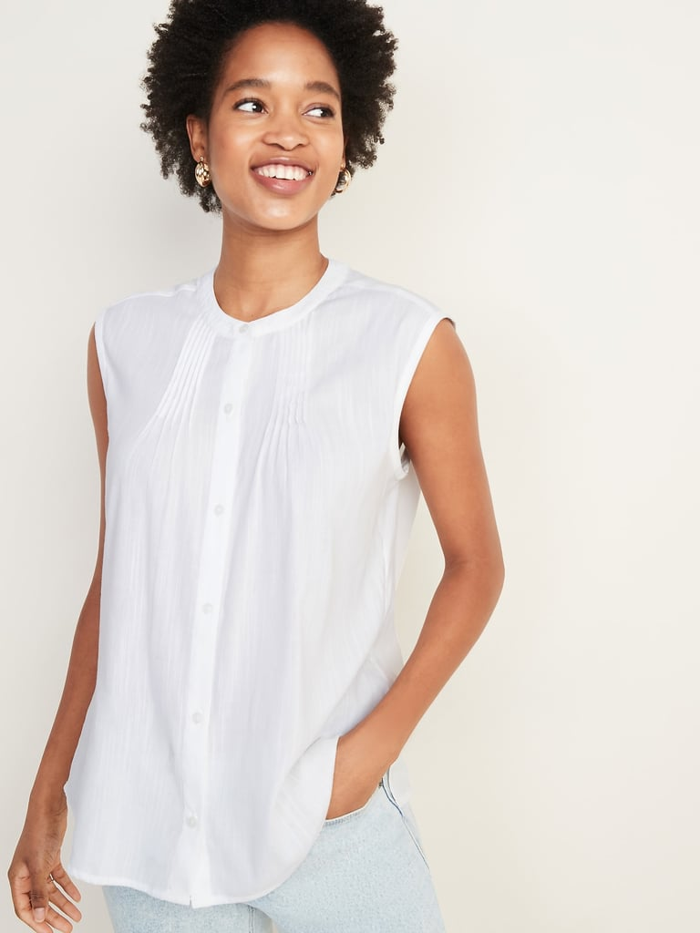 Sleeveless Button-Front Cocoon Top