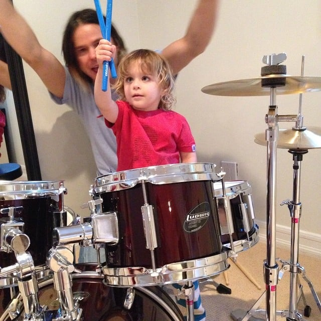 Arthur Bleick channeled his inner rock star while sitting at the drums. Source: Instagram user therealselmablair