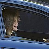 Queen Letizia and King Felipe VI Driving Daughters to School