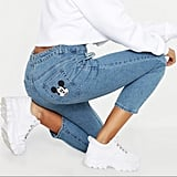 Boohoo Disney Mickey Mouse Graphic Denim Mom Jeans