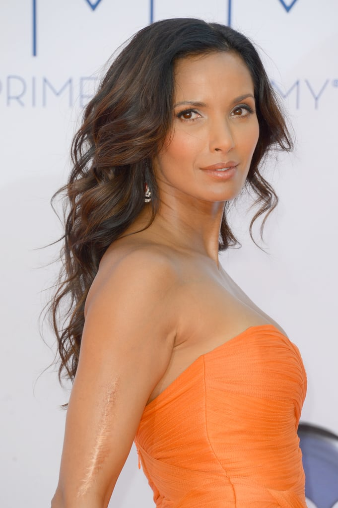 Padma Lakshmi wore an orange gown to the Emmys.