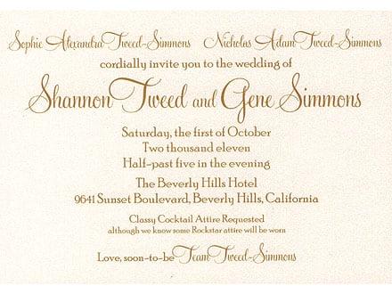 Gene Simmons & Shannon Tweed's Wedding Invitation