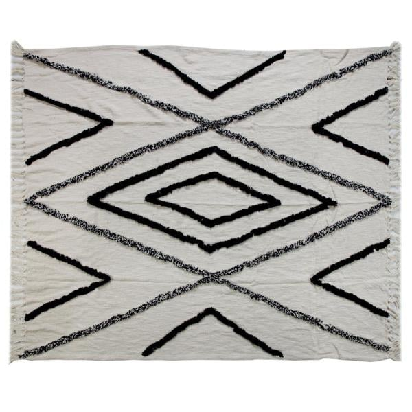 LR Resources Geometric Aztec Fringed Natural and Navy Decorative Cotton Throw Blanket