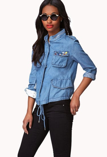 This Forever 21 bejeweled chambray jacket ($30) combines our love of embellishments with our love of utilitarian style.