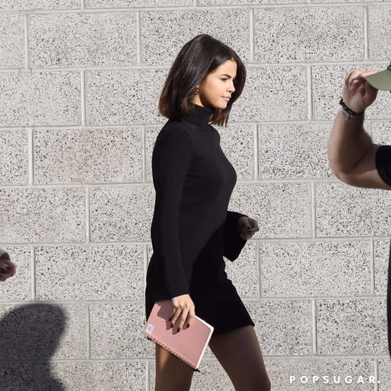 Selena Gomez Wearing Black Sweater Dress