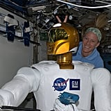 """If Robonaut wants to be a part of our team, he needs to take a little fun harassment! =) KN from space."" Source: Pinterest user Karen Nyberg"