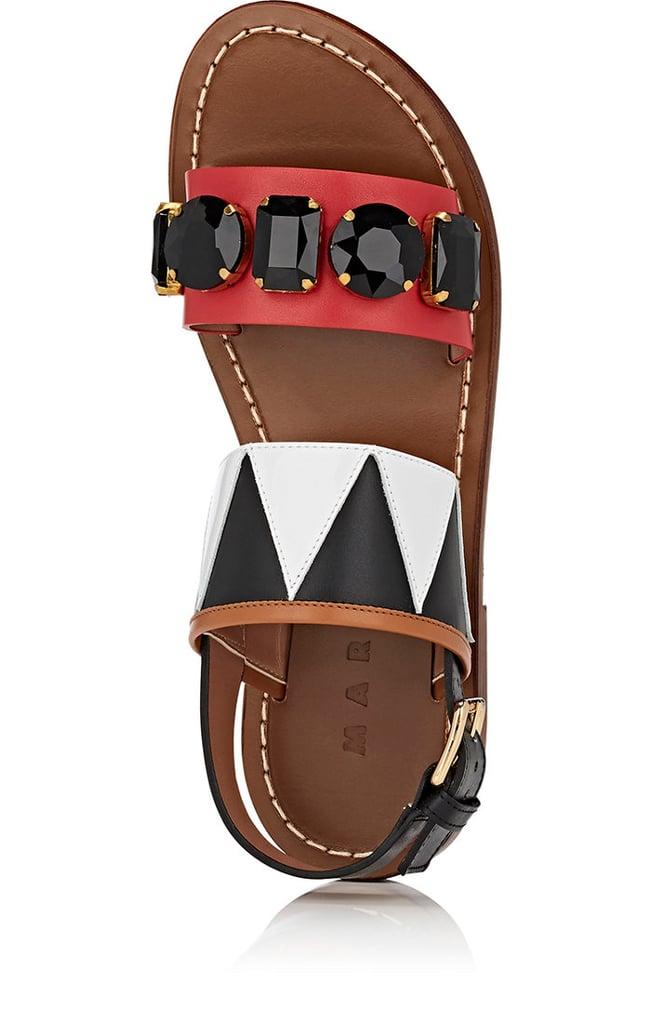 bb1977415 Marni Jeweled Leather Flat Sandals