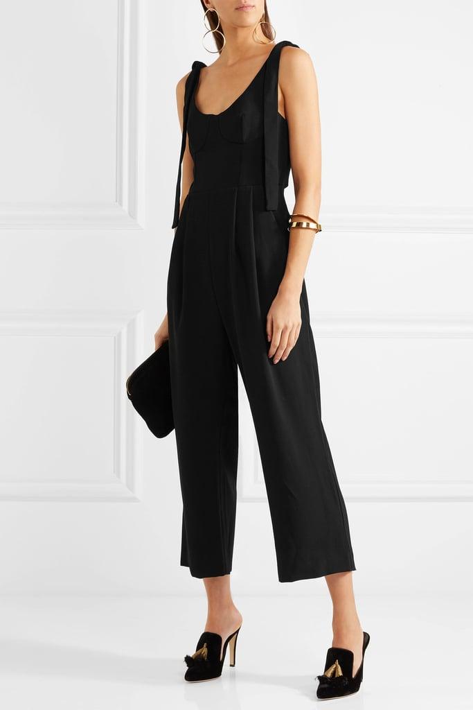 Rebecca Vallance Courtside Cropped Cutout Crepe Jumpsuit - Black ($400)