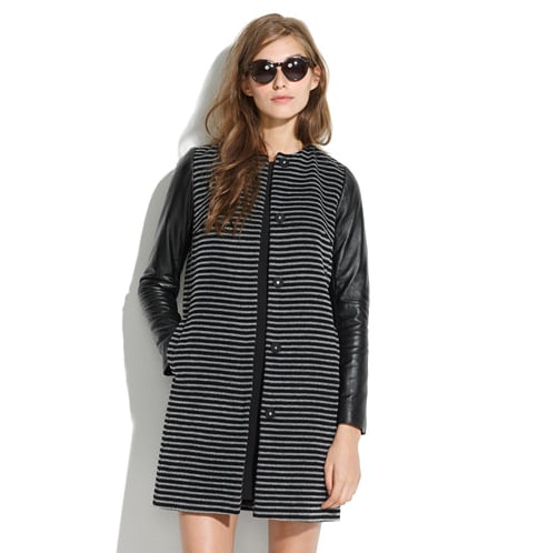 The stripes and leather sleeves make this Madewell Mod Coat ($298) a win win.