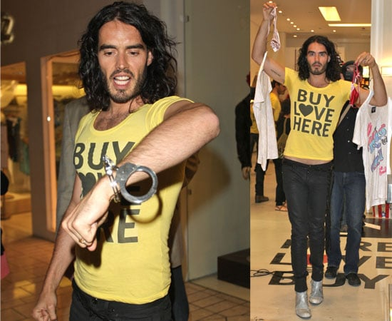 Pictures of Russell Brand Filming New Documentary Opening Buy Love Here Store
