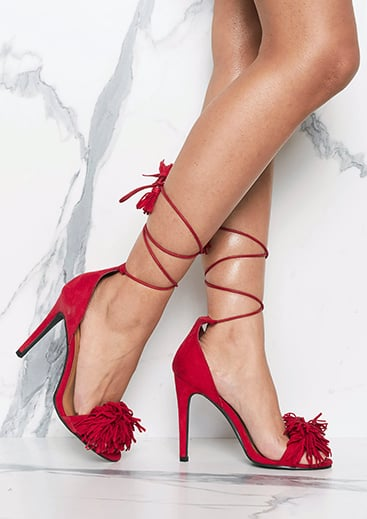 76a2dcac6aca Missy Empire Nicola Red Suede Tassel Detail Lace Up Heels