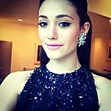 Emmy Rossum got glammed up in a sequined gown and statement earrings for a night at the New Yorkers For Children Spring dinner. Source: Instagram user emmyrossum
