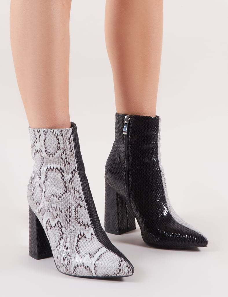 Public Desire Hyper Two Tone Snake Ankle Boots