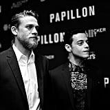 Charlie Hunnam and Rami Malek at Papillon Premiere Aug. 2018