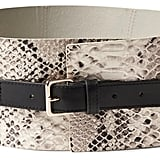 Snake-Effect Leather Corset Waist Belt