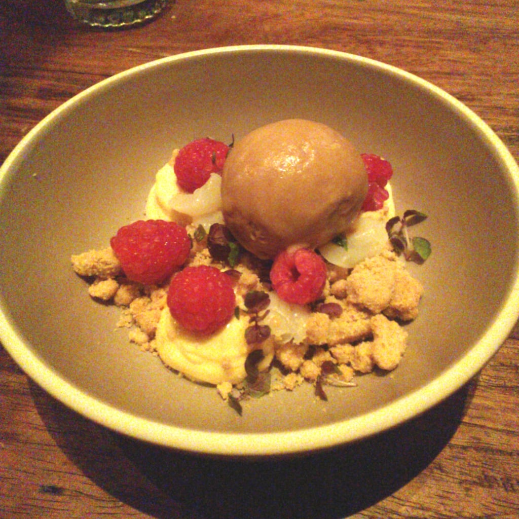 Jess' drool-worthy dessert from Mr. Wong, a heavenly concoction of roast white chocolate, ice cream with yuzu curd, raspberries and longan.