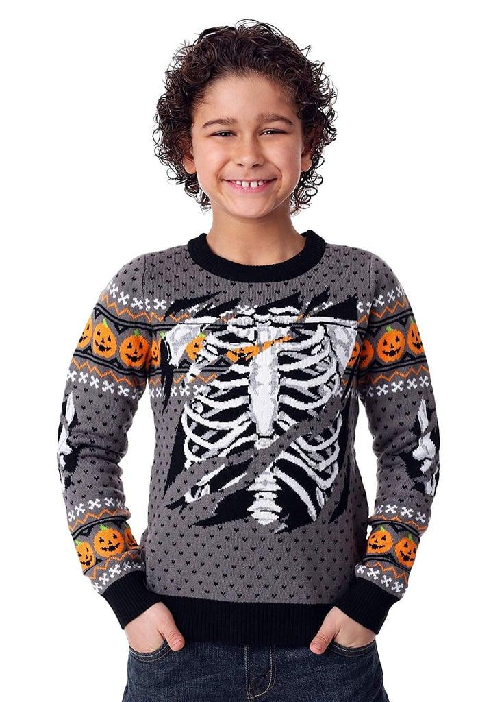 Fun Wear Child Ripped Open Skeleton Halloween Sweater