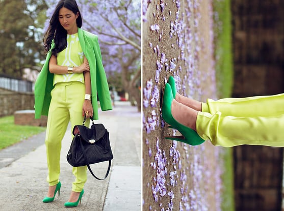 This neon-injected style gets double the color cool with two shades of brilliant green.  Photo courtesy of Lookbook.nu