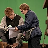 Heughan preparing for a scene in season four.